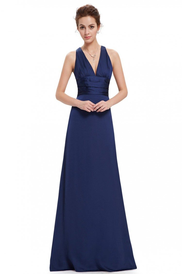 Navy Blue Sexy V Neck Chiffon Evening Dress For Formal 42