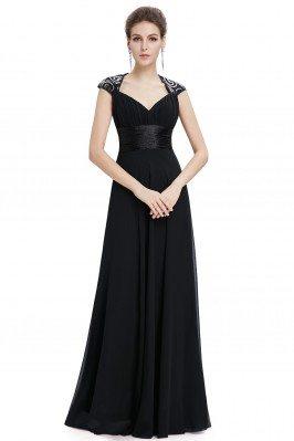 Black V-neck Sequins...