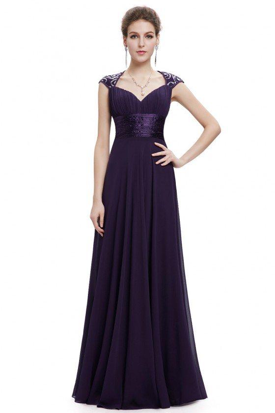 Dark Purple V-neck Sequins Chiffon Ruffles Empire Line Evening Dress