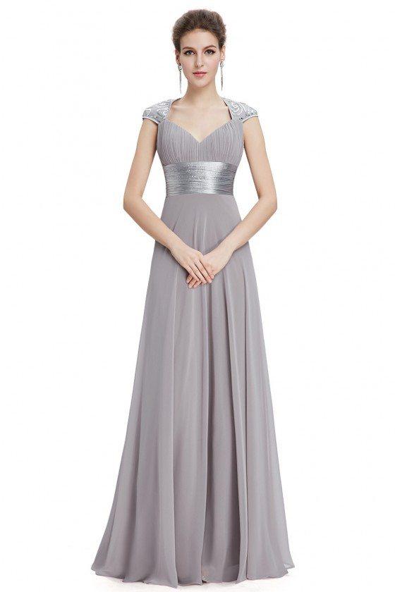 Grey V-neck Sequins Chiffon Ruffles Empire Line Evening Dress