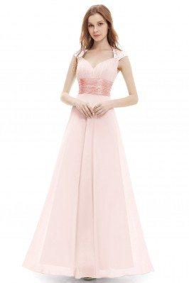 Pink V-neck Sequins Chiffon...