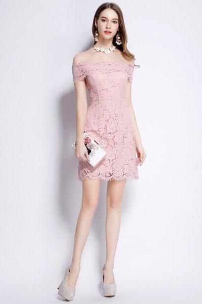 Pink Lace Off Shoulder Party Dress