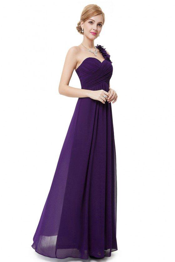Dark Purple Flowers One Shoulder Chiffon Padded Bridesmaid Dress