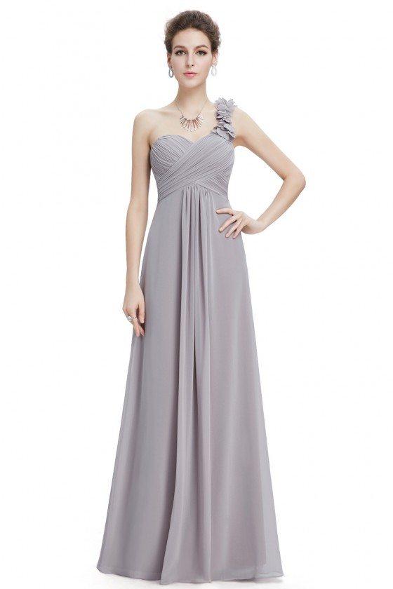 Grey Flowers One Shoulder Chiffon Padded Bridesmaid Dress