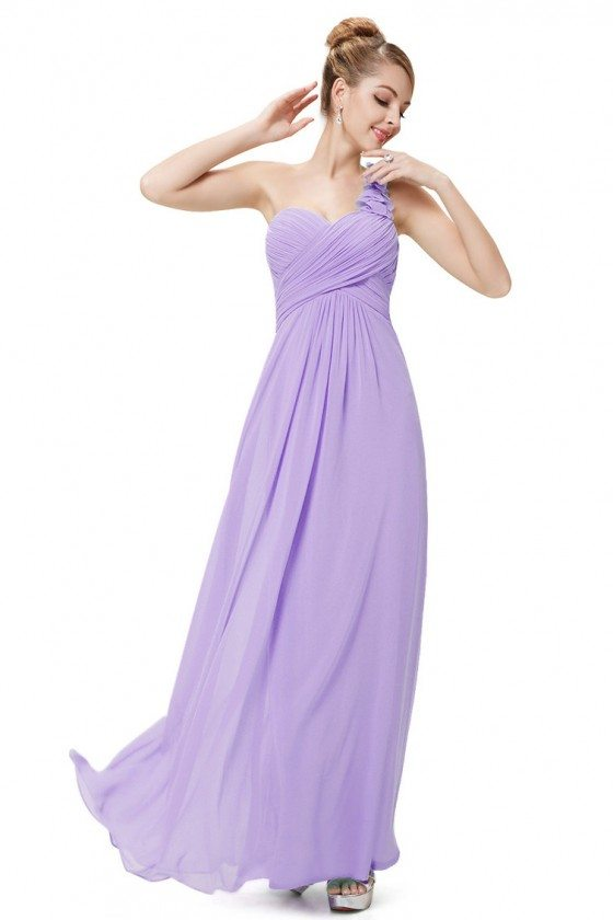 Lavender Flowers One Shoulder Chiffon Padded Bridesmaid Dress