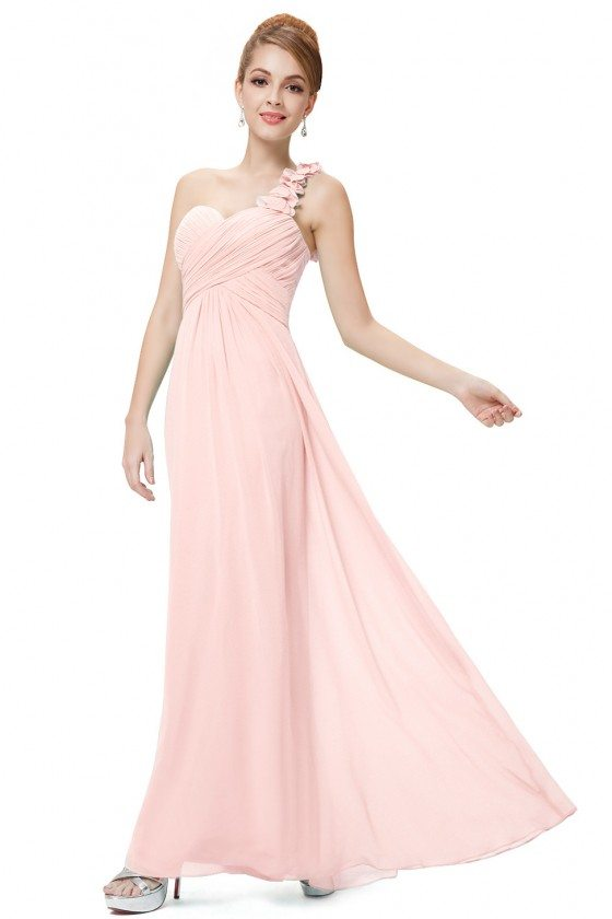 Pink Flowers One Shoulder Chiffon Padded Bridesmaid Dress