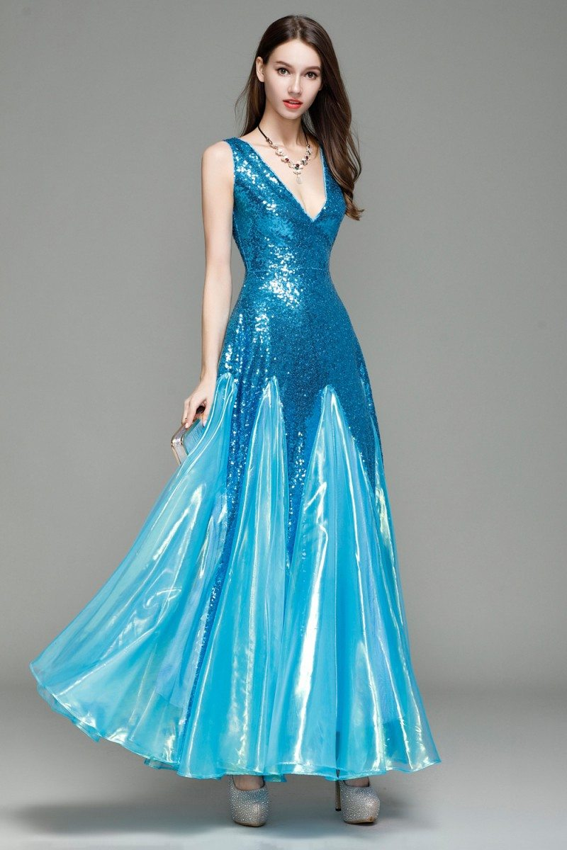 Blue Sequin Deep V Neck Long Prom Dress 92 Ck7155