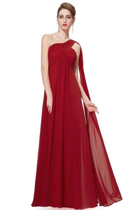 Burgundy A-line One Shoulder Ruffles Long Evening Dress