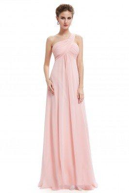 Pink A-line One Shoulder...