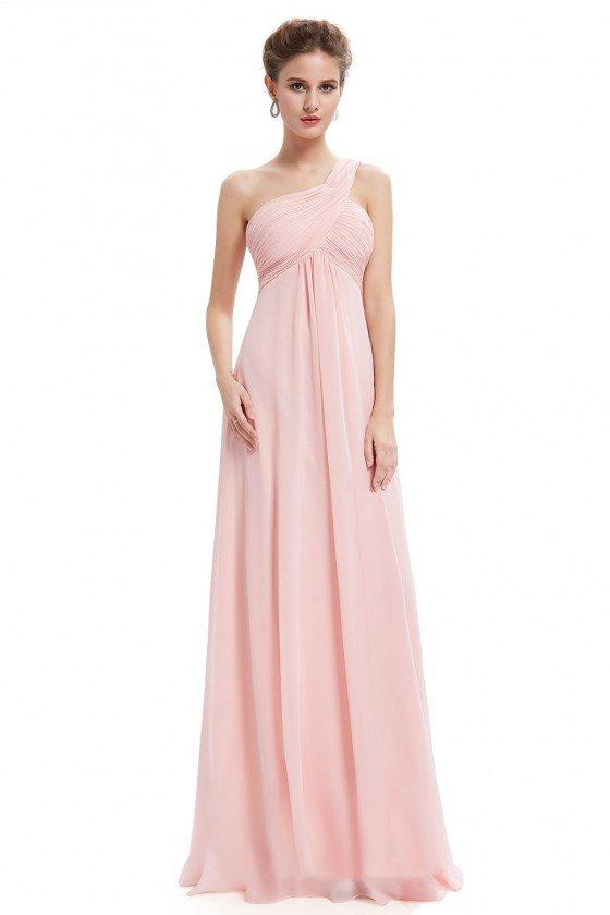 Pink A-line One Shoulder Ruffles Long Evening Dress