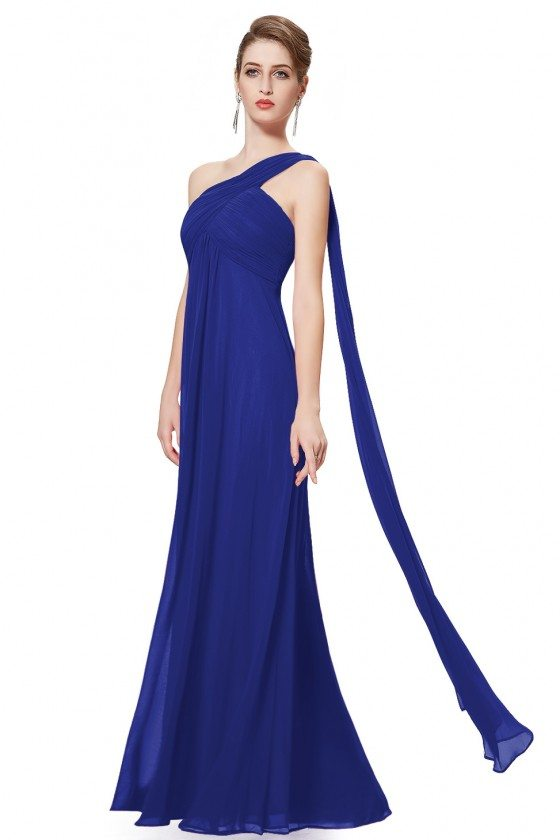 Navy Blue A-line One Shoulder Ruffles Long Evening Dress