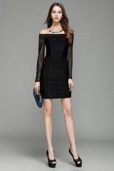 Little Black Off Shoulder Long Sheer Sleeve Party Dress