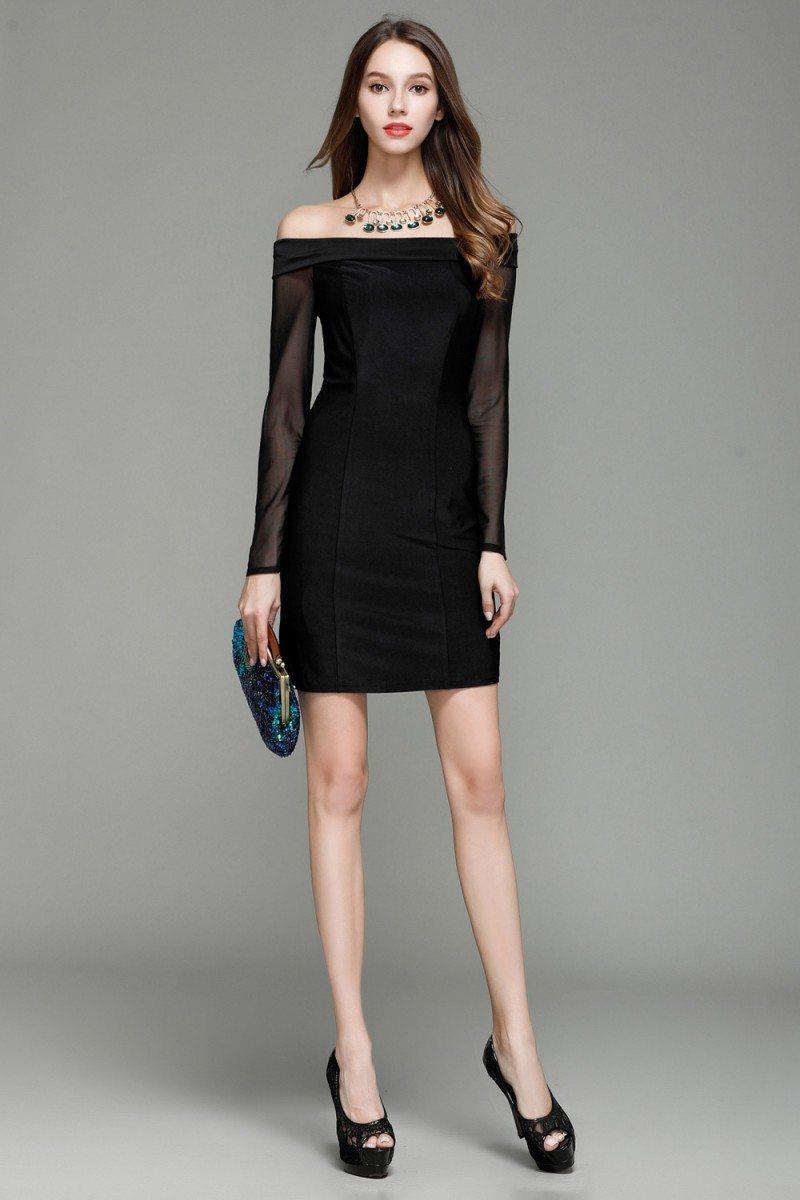 Little Black Off Shoulder Long Sheer Sleeve Party Dress ...