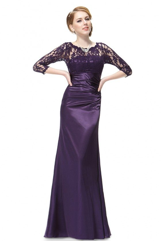 Dark Purple 3/4 Sheer Sleeves Lace Scalloped Neckline Long Formal Dress