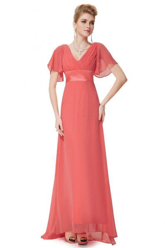 Coral Chiffon Double V-Neck Ruffles Padded Evening Dress