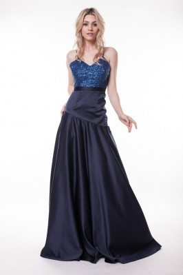 Navy Blue Open Back Long Formal Gown With Straps