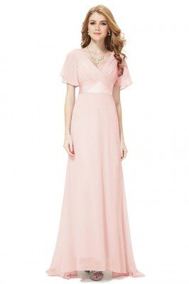Pink Chiffon Double V-Neck...