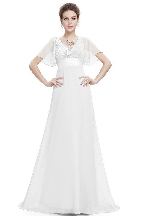 White Chiffon Double V-Neck Ruffles Padded Evening Dress
