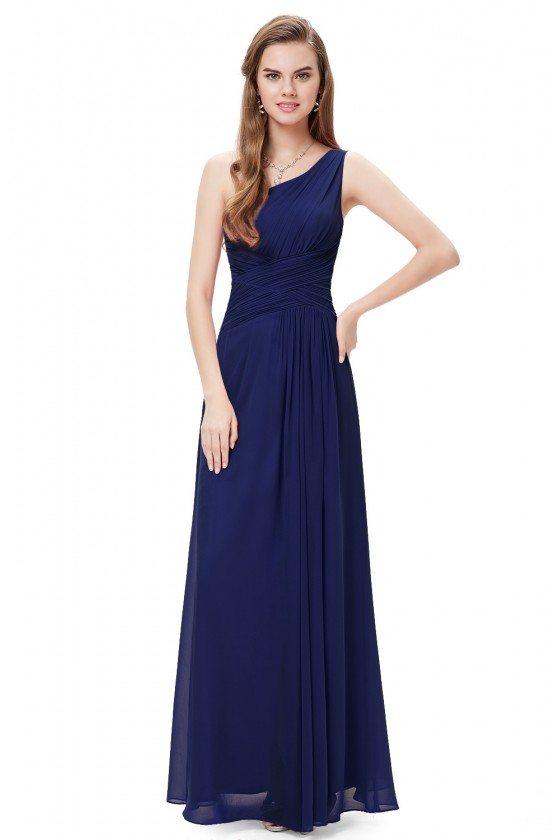 Elegant Navy Blue One Shoulder Slit Ruched Long Formal Dress 52