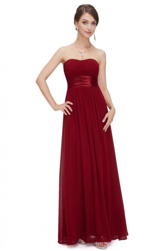 Strapless Ruched Bust Burgundy Chiffon Long Bridesmaid Dress