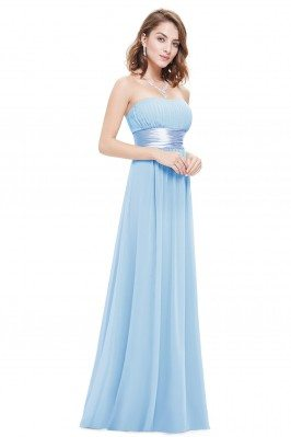 Strapless Ruched Bust Blue...