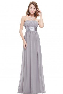 Strapless Ruched Bust Grey...