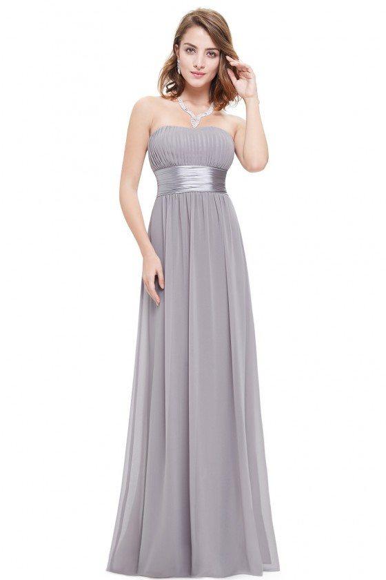 Strapless Ruched Bust Grey Chiffon Long Bridesmaid Dress