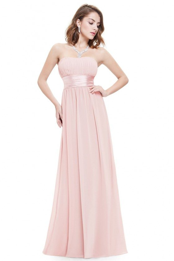 Strapless Ruched Bust Pink Chiffon Long Bridesmaid Dress