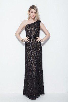 Long Lace One Shoulder Formal Dress