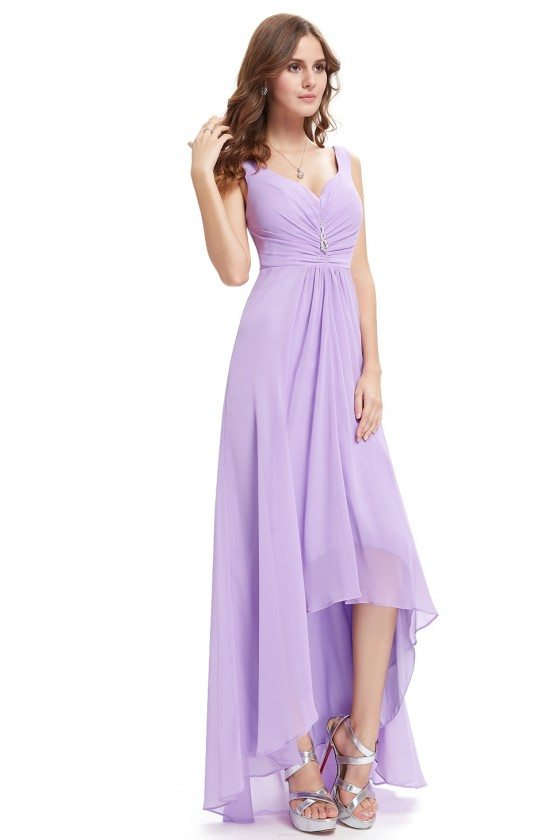 Lavender Double V Neck Rhinestones Ruched Bust High Low Evening Dress
