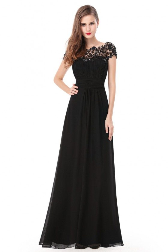 Black Lacey Neckline Open Back Ruched Bust Prom Dress