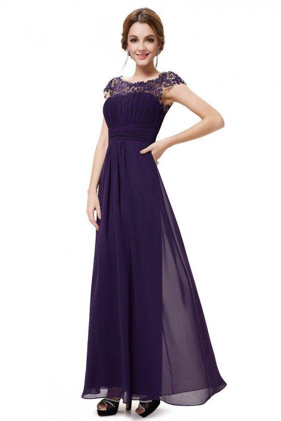 Dark Purple Lacey Neckline Open Back Ruched Bust Prom Dress