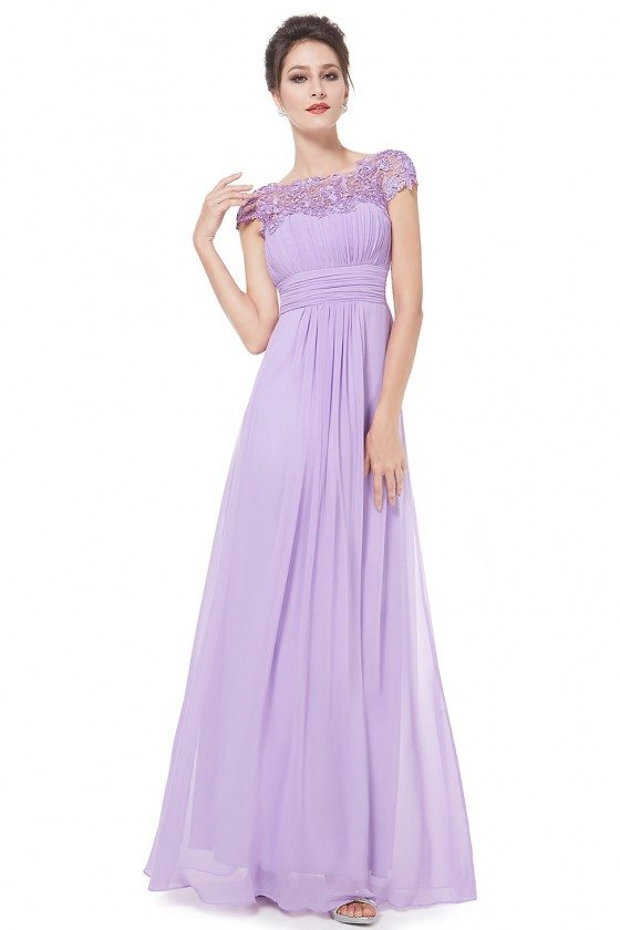 Lavender Lacey Neckline Open Back Ruched Bust Prom Dress