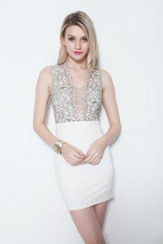 Lace Short Sleeveless Bodycon Dress