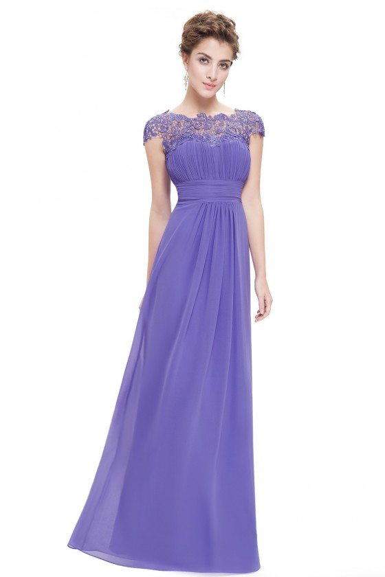 Purple Lacey Neckline Open Back Ruched Bust Formal Dress