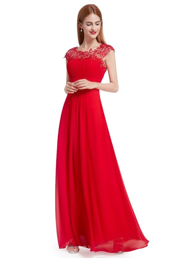 Red Lacey Neckline Open Back Ruched Bust Prom Dress