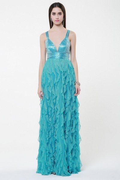 V-neck Cross Back Long Formal Dress Onsale