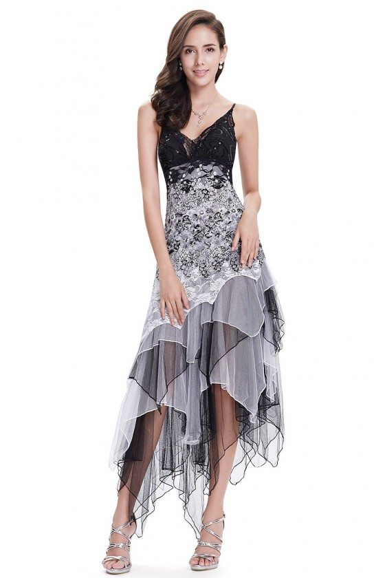 Sexy Black and White Lace Party Dress