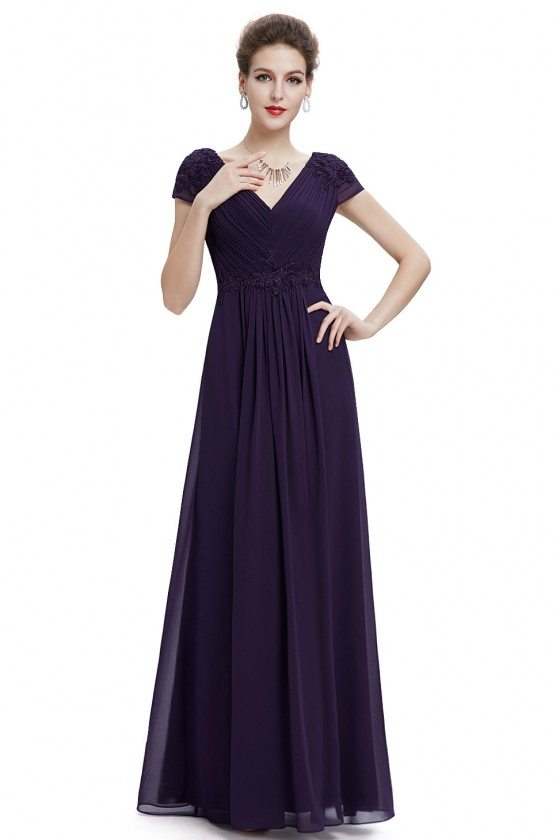 Purple V-neck Ruched Long Party Dress