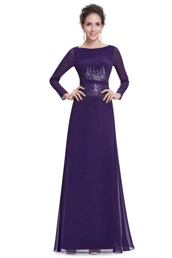 Dark Purple Sequins Long Sleeve Evening Dress