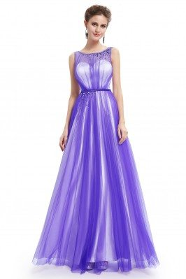 Purple Tulle Round Neck...
