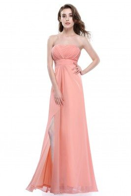 Peach Strapless Slit Long...