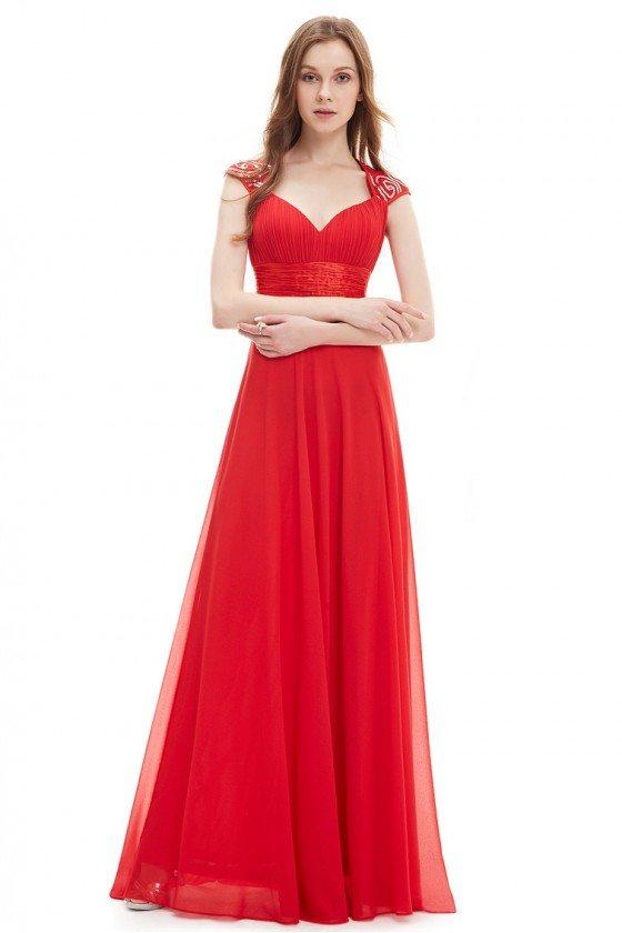 Red V-neck Sequins Chiffon Ruffles Empire Line Evening Dress - $45 ...
