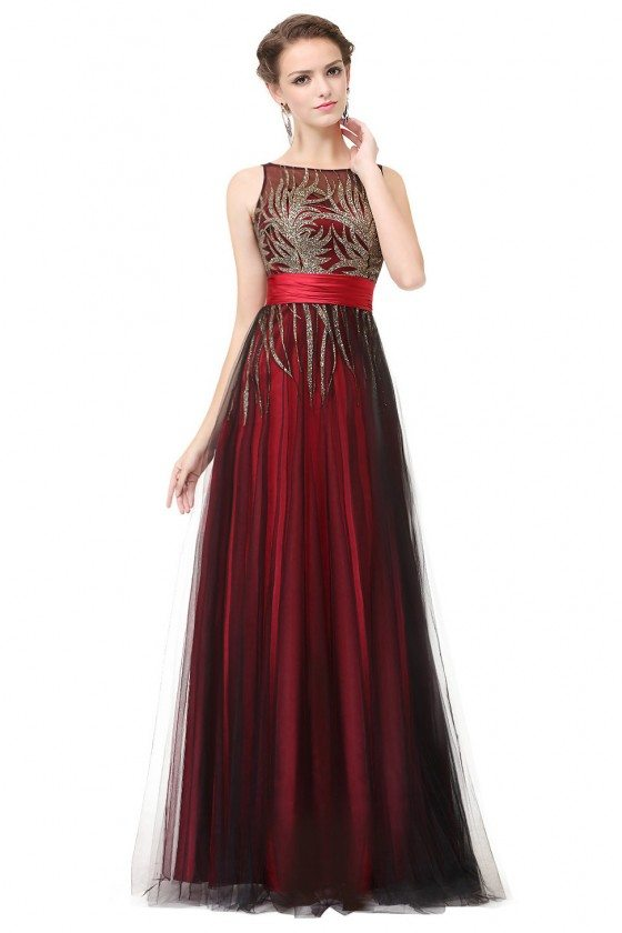 Red Evening Round Neck Long Party Dress