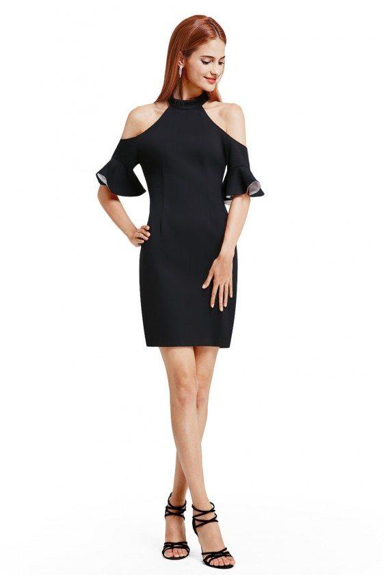 Short Cold Shoulder Halter Little Black Dress