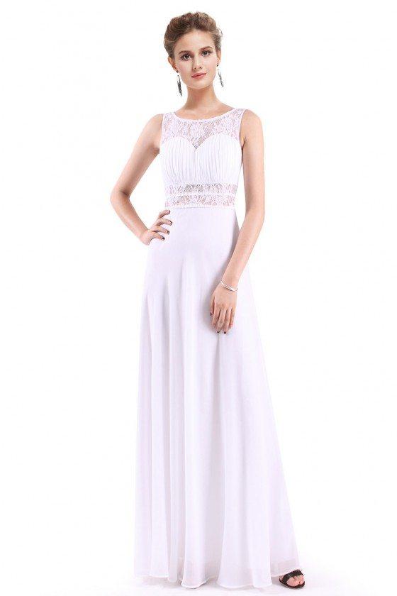 Women's White Elegant Long Evening Party Dress