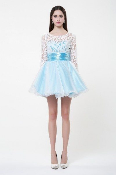 Lace Long Sleeve Short Prom Dress - $79 #DK225 - SheProm.com