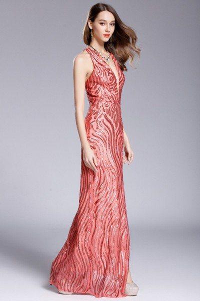 Deep V-neck Slit Long Halter Sequin Long Prom Dress - $119 #CK650 ...
