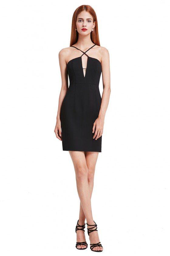 Sexy V-Neck Spaghetti Straps Sleeveless Short Solid Bodycon Club Dress