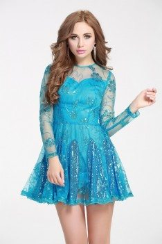 Blue Sequined Embroidery Fit And Flare Short Dress